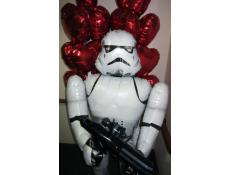 Stormtrooper Airwalker in front of a red foil heart balloon arrangements | Valentine's Day www.corporaterewards.com.au