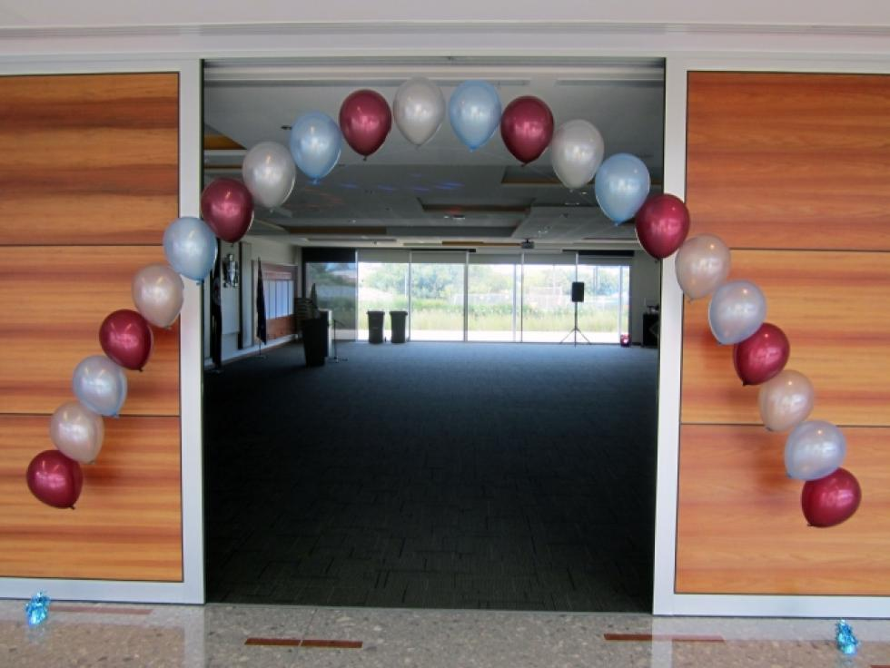 Helium Balloon Arch | Metallic Burgandy, Silver & Pearl Blue Balloons Canning Civic Centre | www.CorporateRewards.com.au