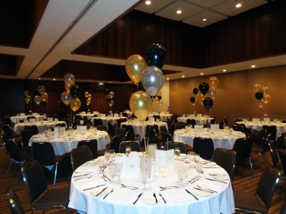 Helium Balloon Table Arrangements | Metallic Gold, Black & Silver Balloons University Club Ballroon UWA | www.CorporateRewards.com.au