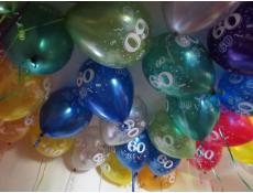 60 Print Assorted Metallic Helium Latex Balloons