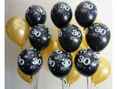 30 Print Balck Latex Balloons with Gold Balloons