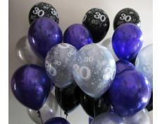 Metallic Purple, Black & Silver Helium Latex Balloons 30 print on Black & Silver Balloons