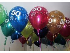 50 Print Metallic Helium Latex Balloons