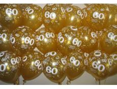 60 Print Gold Helium Latex Balloons www.CorporateRewards.com.au