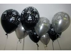 Black & Silver Happy Birthday Print Helium Latex Balloons www.CorporateRewards.com.au
