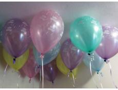 Happy Birthday Print Helium Latex Balloons | Pearl Pink, Pearl Blue, Pearl Gree, Pearl Yellow, Pearl Lavender