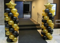 Star Gold Black Balloon Columns Perth