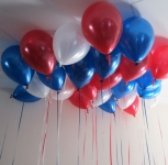 Helium Ceiling Balloons Red White Blue