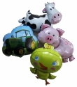 Tractor Cow Pig Chick Foil Balloons