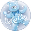 Baby Boy Bear Double Bubble Balloon