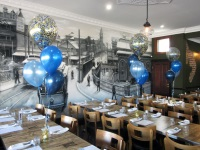 Blue Gold Confetti Helium Balloon Arrangements Perth