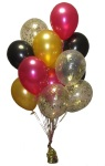 Gold Confetti Balloons with Magenta, gold and balck helium balloons Perth