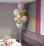 Gold Confetti with pearl pink adn white latex balloons arrangement Perth