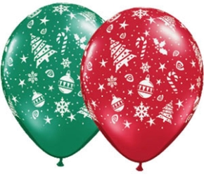 Christmas Trimmings Latex Helium Balloons