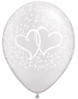 Entwined Hearts Print Latex Balloons