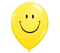 Yellow Smiley Face Print Latex Balloons